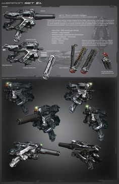 Two versions of a hand gun done for the Alien Rage project. Sci Fi Weapons, Weapon Concept Art, Weapons Guns, Fantasy Weapons, Military Weapons, Robot Design, Game Design, Digital Sculpting, Future Weapons