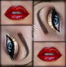 gold eyes and red lips = Wonder Woman makeup Red Lip Makeup, Love Makeup, Skin Makeup, Beauty Makeup, Makeup Looks, Gorgeous Makeup, Makeup Geek, Queen Makeup, Black Makeup