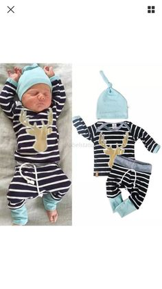 Adorable baby deer 3 piece outfit 3 and 6 month size. Cotton. We are able to ship in 1-3 business days. We can order larger sizes up to 18 months, let me know, will take 3-4 weeks. Thanks Sandy