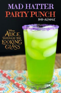 Mad Hatter Party Punch Recipe - Non Alcoholic Party Punch made with three ingredients. Fun Idea to celebrate Alice Through the Looking Glass.