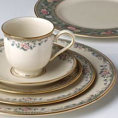 This is described on the Lenox site as  Spring Vista ... but my set is marked  Southern Vista ...(from the American Home Collection) & Autumn Collection | Dinnerware Autumn and China