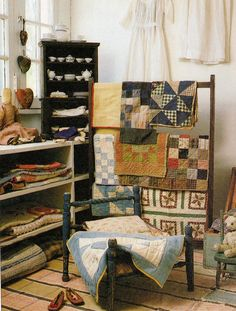 Old Country Quilts...love the small prim bed & quilt.