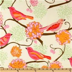Bliss Flannel Birds Paisley Tangerine 8.98 Colors include shades of red, pink, orange, green ands soft yellow.