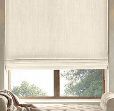 Belgian Heavyweight Textured Linen Flat Roman Shade - Restoration Hardware - for bedroom and kitchen windows House Blinds, Blinds For Windows, Curtains With Blinds, Shades For Windows, Shades Window, Sunroom Windows, Privacy Blinds, Sheer Blinds, Blinds Diy