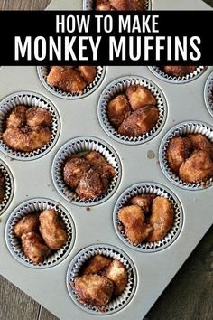Mini Monkey Muffins are made using refrigerated biscuit dough and dipped in cinnamon and sugar, making each bite delicious! They are a fun breakfast or even dessert and easy enough that kids can make them. Mini Monkey Bread, Monkey Bread Muffins, Monkey Bread Cupcakes, Cinnamon Roll Monkey Bread, Pumpkin Monkey Bread Recipe, Cinnamon Pull Apart Bread, Cinnamon Roll Muffins, Cinnamon Rolls, Best Breakfast