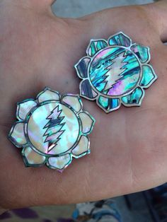 Grateful lotus abalone/mother of pearl inlay pin by Fatfreddyscaps