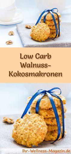 Low-Carb-Weihnachtsgebäck-Rezept für Walnuss-Kokosmakronen: Kohlenhydratarme, kalorienreduzierte Weihnachtskekse - ohne Getreidemehl und Zucker gebacken ... #lowcarb #backen #weihnachten