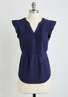 Expert in Your Zeal Top in Navy by ModCloth - Blue, Solid, Buttons, Ruffles, Work, Cap Sleeves, Woven, Good, V Neck, Mid-length, Variation