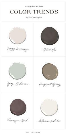 Benjamin Moore 2021 Palette Picks - Saffron Avenue House Color Palettes, House Color Schemes, House Colors, Paint Palettes, Benjamin Moore Paint, Benjamin Moore Colors, Color Inspiration, Interior Inspiration, Paint Colors For Home