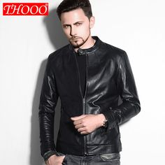 Men Fashion Brand PU Leather Leather Jacket, Slim Cut Stitching, Black