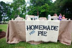 This wedding is perfect! Homemade pie, mason jar/beer mugs, fun photo shoot/ guest book, outdoors, etc. LOVE IT!