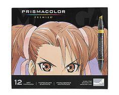 Prismacolor Premier Manga Set of 12 Double Ended Art Marker Chisel Tip/Fine Tip