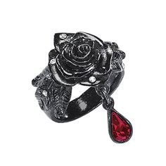 "Pyramid Collection Black Rose Ring - Makes a great costume / cosplay piece!  **************""Black Blossom. The roisin dubh (black rose) blooms darkly in this unusual ring. Highlighted with diamond-bright Swarovski crystals and a blood-red Swarovski droplet, it's cast in pewter and lacquered to an onyx finish. Handcrafted in England."""