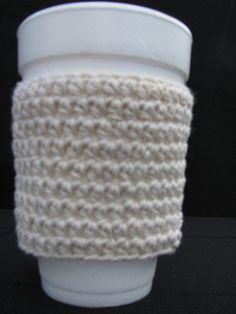Crochet Korner Crocheted Cup Cozy White by CrochetKorner on Etsy, $3.50