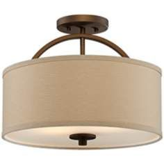 "Brushed Bronze Finish Semi-Flush 15"" Wide Ceiling Light"