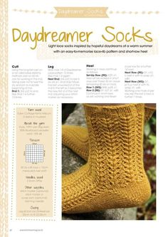 Knit Now 45 2015 03 Knitting Socks, Hand Knitting, Knitting Patterns, Knit Socks, Lace Socks, How To Memorize Things, Slippers, Inspiration, Wrist Warmers