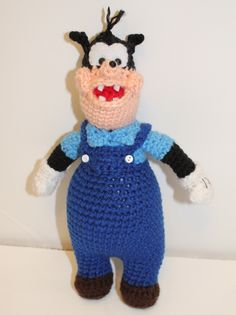"""THIS IS A PATTERN, NOT THE FINISHED DOLL!!  Now you can make your own crochet Pete doll. This doll is so much fun! He is just right to cuddle and play with. Doll is about 10"""" tall if using same yarn as called for in pattern. This doll is inspired by Pete from the tv show Mickey Mouse Clubhouse!  This pattern is written in English, using US Crochet Terms.  Doll is made using amigurumi, working in t"""