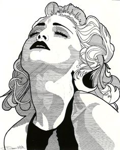 """MADONNA 1"" © December 31, 1992 by Donna L. Faber.  The original is 16""x24"", black ink on bristol strathmore paper.  I was experimenting with cross-hatching and a ruler on shading.  The effect was satisfying.  This is my favorite rendering of Madonna, and I think my best."
