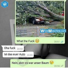 Lustige WhatsApp Bilder und Chat Fails 209 - Baum fällt aufs Auto