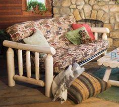Rustic Natural Cedar Log Futon RC-48E