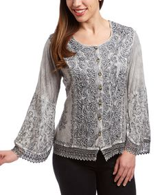 Look what I found on #zulily! Gray Embroidered Button-Up Top by The OM Company #zulilyfinds