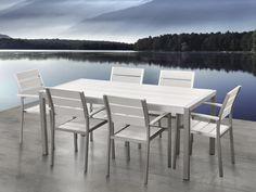 Dinner Set Tuin : Amazonia hawaii white 9 piece rectangular patio dining set natural
