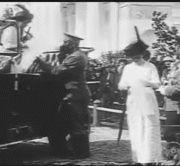 (gif) - Anastasia exits a car and joins Olga, Maria,  their father