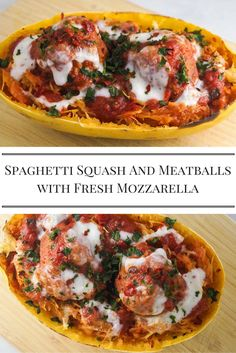 Low Carb Spaghetti Squash and Meatballs with Fresh Mozzarella - Slender Kitchen. Works for Gluten Free, Low Carb and Weight Watchers® diets. 416 Calories.