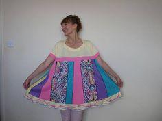 Upcycled clothing Plus size tunic tops Boho clothing Recycled