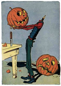 """Jack Pumpkinhead tries on a smiley face head today Artist: John R. Neill from """"Little Wizard Stories of Oz"""" by L. Frank Baum, 1914."""