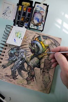 Muddy Colors: Sketchbook.  A little trick for making your sketchbook illustrations more vibrant is to later use Gesso for the highlights and then once dried, apply a thin layer over it using Acrylic dyes increasing the vibrancy ten fold.