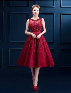 Cocktail Party Dress - Ruby / Burgundy / White A-line Scoop Tea-length Lace 2015…
