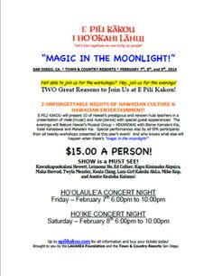 Come to E Pili concert nights if you can't make the workshops. $15.00 admission. http://www.epilikakou.com  February 7-9, 2014