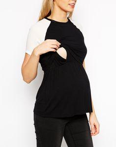 a3a6fb243413 Изображение 3 из Черно-белая футболка для беременных и кормящих мам ASOS  Maternity