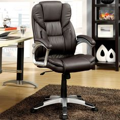 Plush Executive Dark Brown Swivel Adjustable Office Chair (Dark Brown)