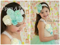 Mint Couture Satin & Shabby Flower Lace by OnceUponATimeTuTus