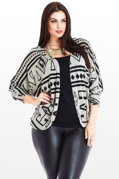 Tribal Aztec Cardigan, Black Cami, Leather Leggings.