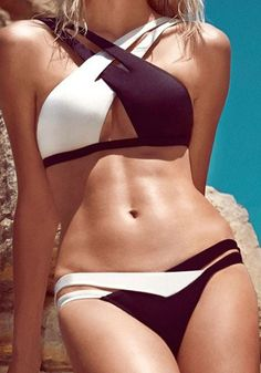 Bikini 2017 Newest Sexy Ladies Sunshine Beach Swimwear Front Openning  Swimsuit Bandage double Colors Patchwork Bathing Suit b2e90750e