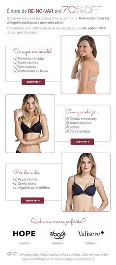 E-mail Extra para base de mulheres.. marcas Hope, Sloggi e Valisere Lingerie, Base, Shopping, Women, Clothes, Lingerie Set, Corsets, Underwear