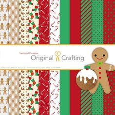 12 traditionelle Weihnachts-Papier [Digital herunterladen]