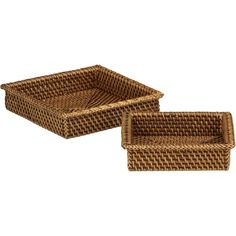 Artfully handwoven of natural rattan, warm brown rimmed baskets are deep squares sized for cocktail and luncheon napkins | domino.com