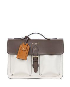 MONTENA - Leather satchel - Grey | Men's | Ted Baker