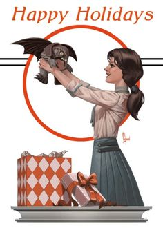 BioShock Infinite Holiday card with little songbird