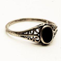 Vintage Filigree, Pierced Sterling Silver Ring with Black Onxy Stone, Size 9.5 (V-267). $27.50, via Etsy.