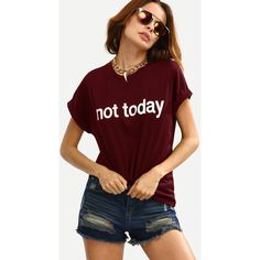 SheIn(sheinside) Burgundy Letter Print Cuffed T-shirt ($9) ❤ liked on Polyvore featuring tops, t-shirts, burgundy, crewneck tee, red tee, red crew neck t shirt, summer t shirts and short sleeve crew neck t shirt