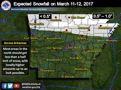 says For The LR Metro & Central Arkansas Freeze Warning Midnight Tonight Thru 9 AM Sunday: Otherwise Today: Cloudy & Cool With Scattered Rain. Hi 43. Tonight: Rain...Possibly Mixing With A Few Snowflakes Before Ending By Midnight. No Snow Accumulation Expected. Lo 32. Sunday: Mo.Sunny. Hi 51. Sunday Ngt: Increasing Clouds With Isolated Showers Late. Lo 35. Monday: Scattered AM Showers Ending By Noon..Then Cloudy. Hi 57. Updates: http://www.weather4ar.org/ - DCP2