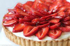 Creamy White Chocolate Mousse & Ripe Strawberry Tart