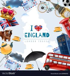 England london travel frame background with collage of flat images with stereotype items and editable text vector illustration , London England Travel, London Travel, Big Ben, Travel Themes, Travel Posters, Telephone Retro, Travel Symbols, London Landmarks, Logo Vintage