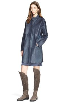 Fabiana Filippi Genuine Calf Hair Collarless Coat