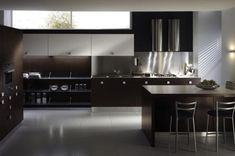 Modern kitchen design in dark hues